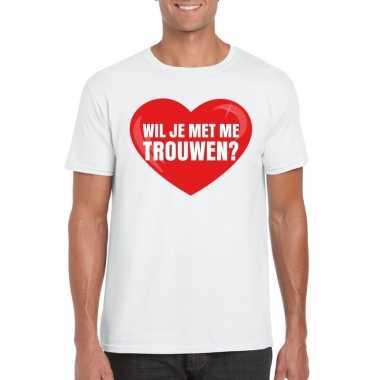 Huwelijksaanzoek t shirt wil je me trouwen wit heren