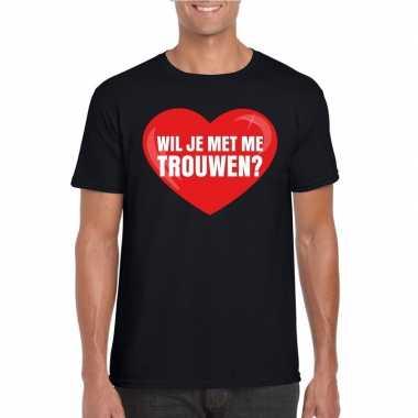 Huwelijksaanzoek t shirt wil je me trouwen zwart heren