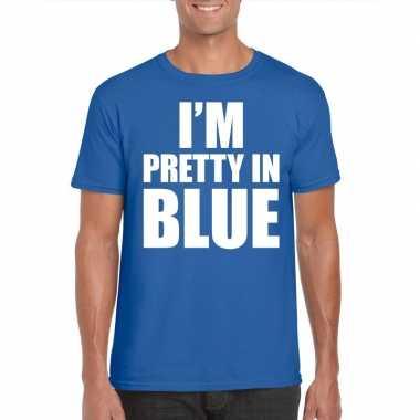 I am pretty blue tekst t shirt blauw heren
