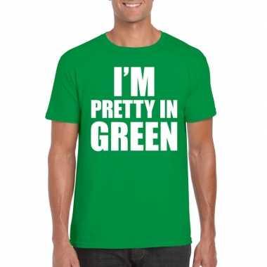 I am pretty green tekst t shirt groen heren