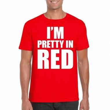 I am pretty red tekst t shirt rood heren