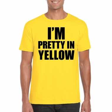 I am pretty yellow tekst t shirt geel heren