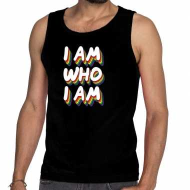 I am who i am gay pride tanktop/mouwloos shirt zwart heren