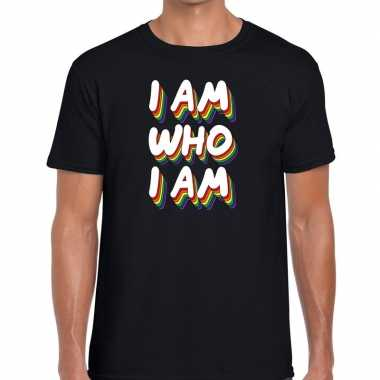 I am who i am gaypride t shirt zwart heren