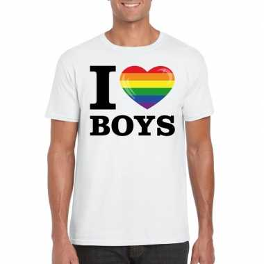 I love boys regenboog t shirt wit heren