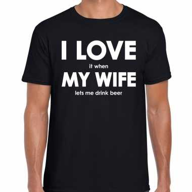 I love my wife lets me drink beer t shirt zwart heren