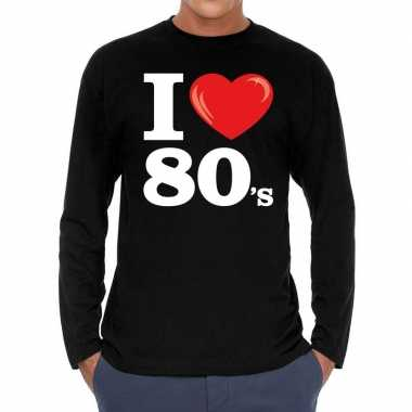 I love s eighties long sleeve t-shirt zwart heren