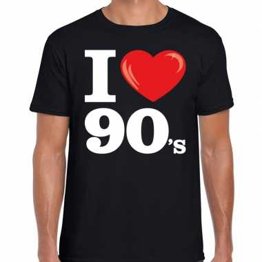 I love s / nineties t shirt zwart heren