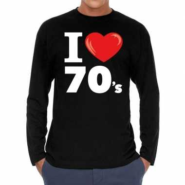 I love s / seventies long sleeve t shirt zwart heren