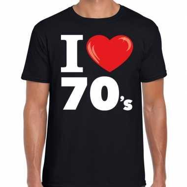 I love s / seventies t shirt zwart heren