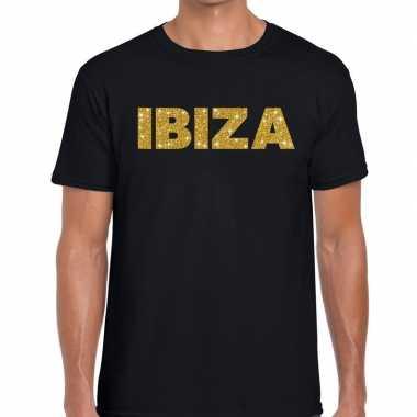 Ibiza gouden glitter tekst t shirt zwart heren