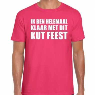 Ik ben helemaal klaar dit kut feest t shirt roze heren