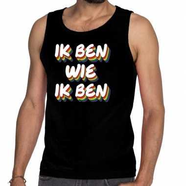 Ik ben wie ik ben gay pride tanktop/mouwloos shirt zwart he