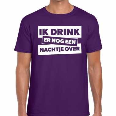 Ik drink er nog een nachtje over tekst t shirt paars heren