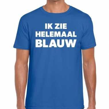 Ik zie helemaal blauw tekst t shirt blauw heren