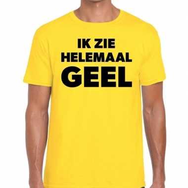 Ik zie helemaal geel tekst t shirt geel heren