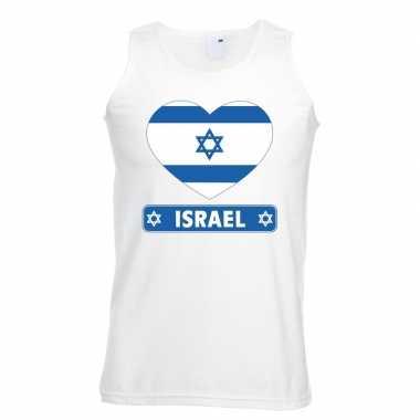 Israel hart vlag singlet shirt/ tanktop wit heren