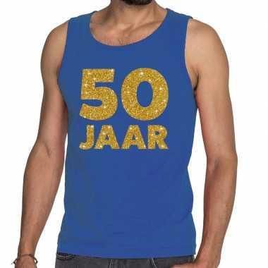 Jaar glitter tanktop / mouwloos shirt blauw heren