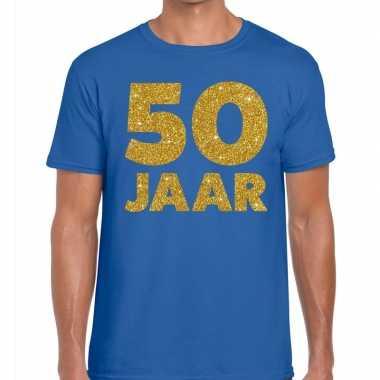 Jaar glitter verjaardag t shirt blauw heren