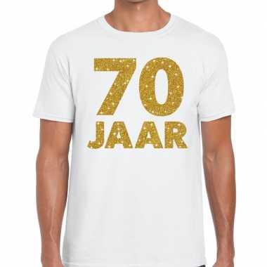 Jaar goud glitter verjaardag jubileum kado shirt wit heren 10154813