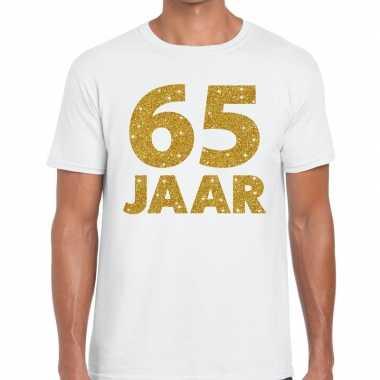 Jaar goud glitter verjaardag jubileum kado shirt wit heren 10154814