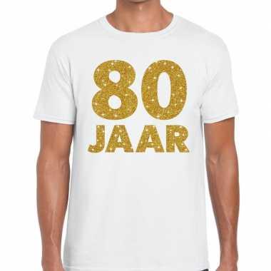 Jaar goud glitter verjaardag jubileum kado shirt wit heren 10154815