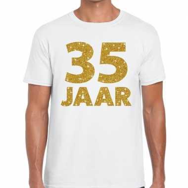 Jaar goud glitter verjaardag jubileum kado shirt wit heren 10154816