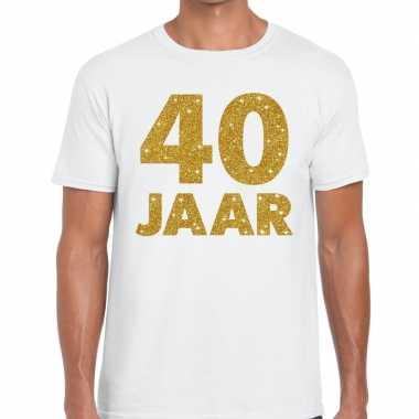 Jaar goud glitter verjaardag jubileum kado shirt wit heren 10154817