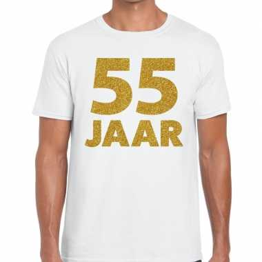 Jaar goud glitter verjaardag jubileum kado shirt wit heren 10154818