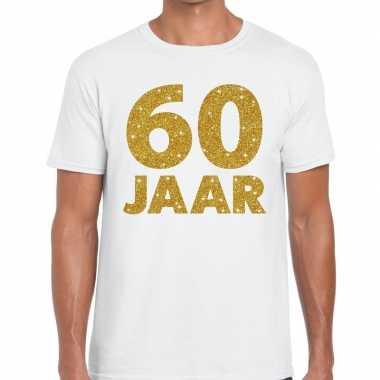 Jaar goud glitter verjaardag jubileum kado shirt wit heren 10154821