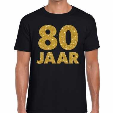 Jaar goud glitter verjaardag jubileum kado shirt zwart heren 10154651