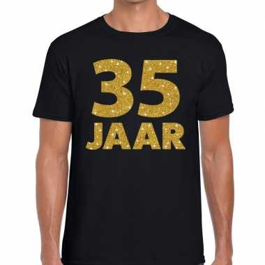 Jaar goud glitter verjaardag jubilieum kado shirt zwart heren 10154665