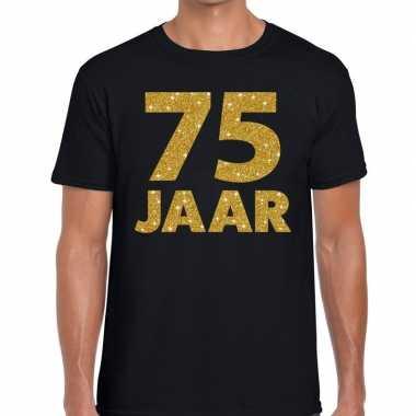 Jaar goud glitter verjaardag jubilieum kado shirt zwart heren 10154669