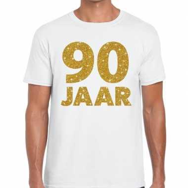 Jaar goud glitter verjaardag kado shirt wit heren 10154833