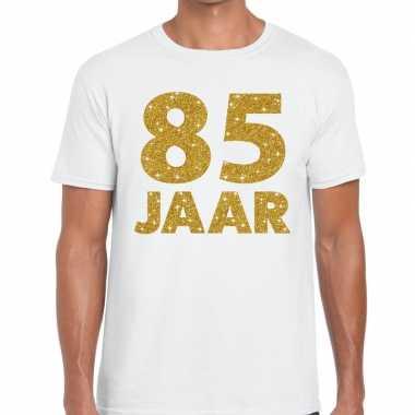 Jaar goud glitter verjaardag kado shirt wit heren 10154840