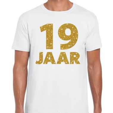 Jaar goud glitter verjaardag kado shirt wit heren 10154843