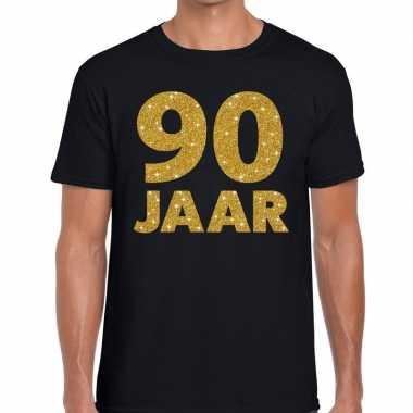 Jaar goud glitter verjaardag kado shirt zwart heren 10154654