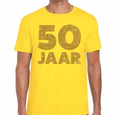 Jaar goud glitter verjaardag t shirt geel heren