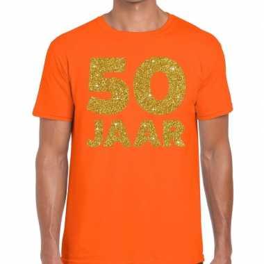 Jaar goud glitter verjaardag t shirt oranje heren
