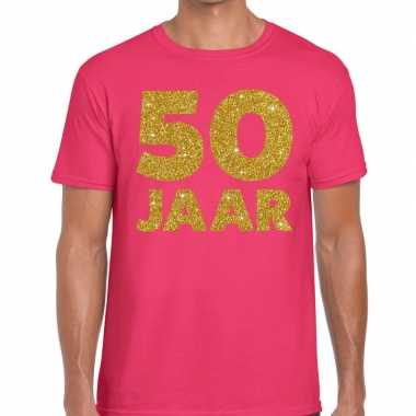Jaar goud glitter verjaardag t shirt roze heren