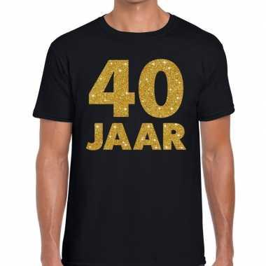 Jaar gouden glitter tekst t-shirt zwart heren 10146849