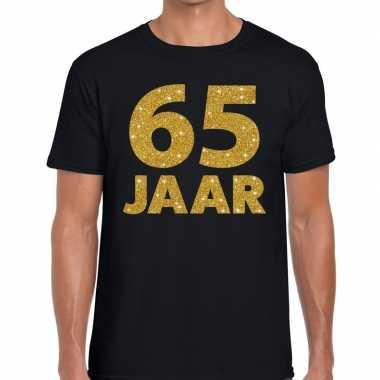 Jaar gouden glitter tekst t-shirt zwart heren 10146854