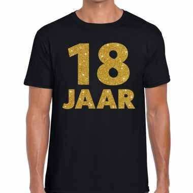 Jaar gouden glitter tekst t-shirt zwart heren 10146856