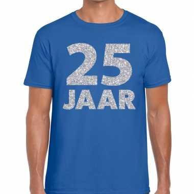 Jaar zilver glitter verjaardag/jubilieum shirt blauw heren