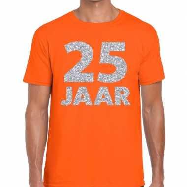 Jaar zilver glitter verjaardag/jubilieum shirt oranje heren