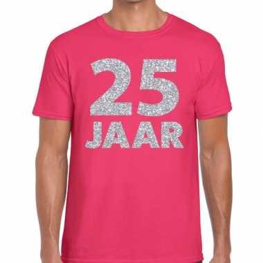 Jaar zilver glitter verjaardag/jubilieum shirt roze heren