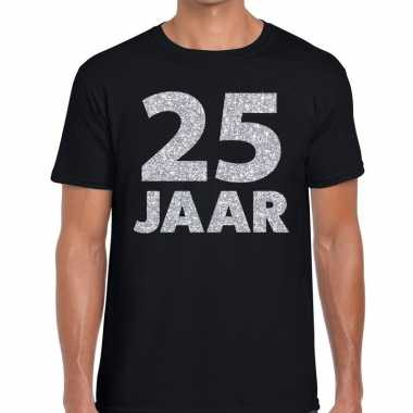 Jaar zilver glitter verjaardag/jubilieum shirt zwart heren