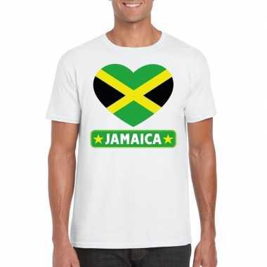 Jamaica hart vlag t-shirt wit heren