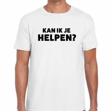 Kan ik je helpen beurs/evenementen t shirt wit heren