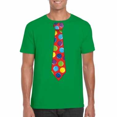 Kerst t shirt stropdas kerstballen print groen heren